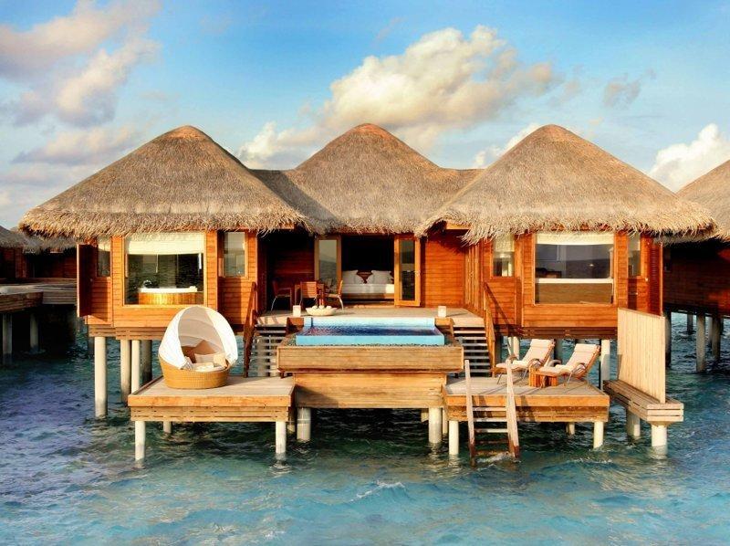 5. На Мальдивах Красивые дома, Пляжный домик, бунгало, на море, отпуск, природа, у моря