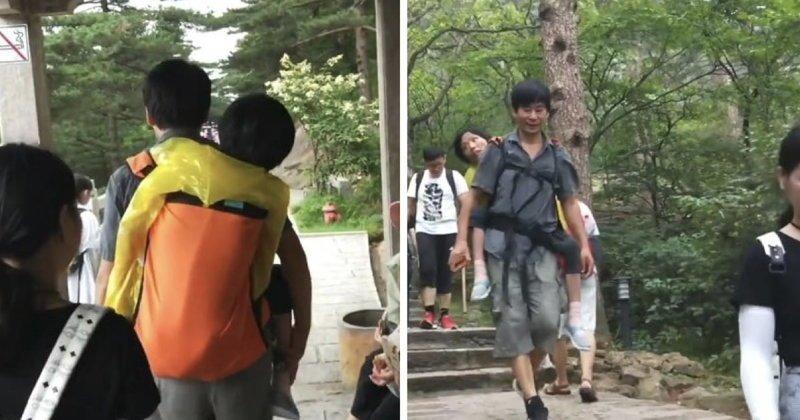 57-летний Ванг Сяомин путешествует по Азии вместе с 53-летней женой на спине болезнь, жена, китай, люди, мир, муж, путешествие