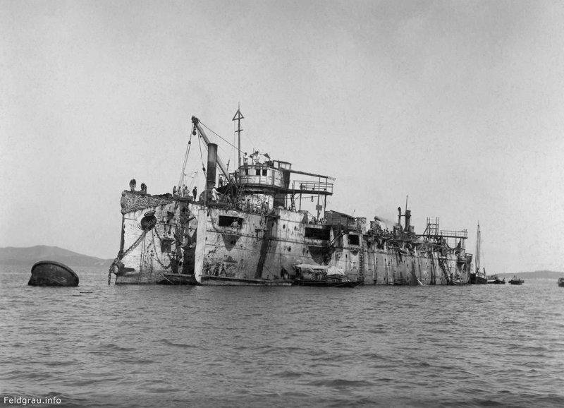 Японцы поднимают крейсер «Варяг». 1905 год исторические фотографии, история, редкие фотографии