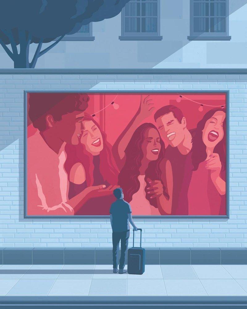 11. Одиночество Стефан Шмитц, иллюстрация, мир, общество, рисунок, художник