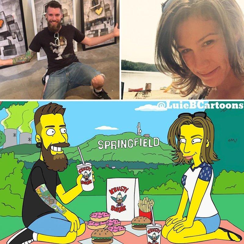 """Художник превращает обычных людей в персонажей """"Симпсонов"""" живопись, иллюстратор, иллюстрации, искусство, искусство в массы, портреты, симпсоны, художник"""