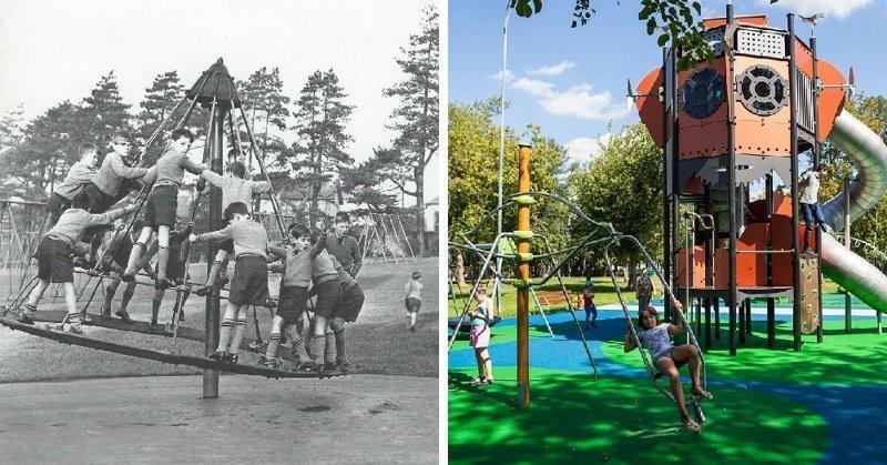 Детская площадка в мире, вещи, изменились, прошлое, тогда и сейчас