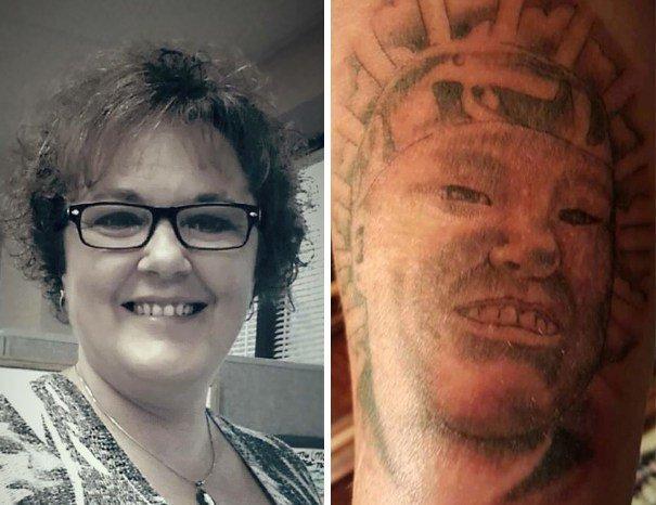 21. Женщина на тату выглядит как азиатский мужчина. абсурд, ошибка, плохое качество, страх, тату, татуировка