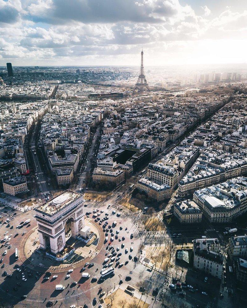 Вид на Париж дроны, фото с высоты, фотографии с дронов, фотография