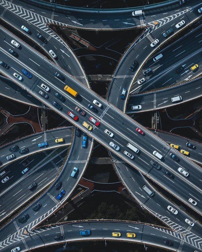 Автомобильная развязка в Китае дроны, фото с высоты, фотографии с дронов, фотография