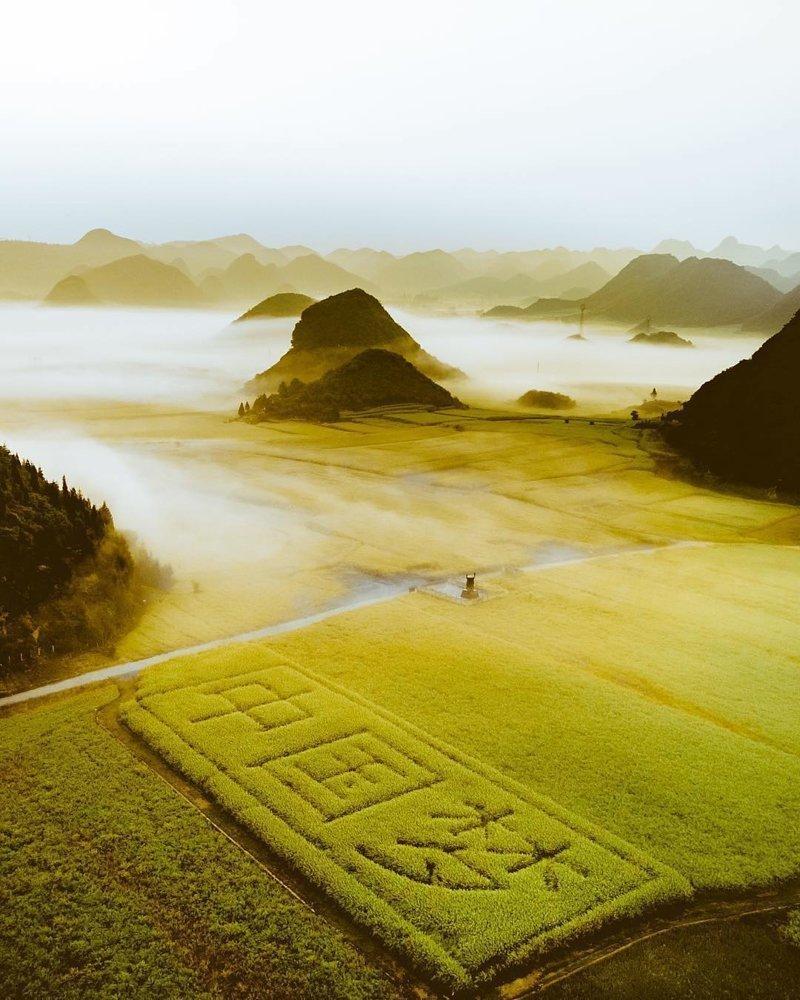 Бескрайние поля в Китае дроны, фото с высоты, фотографии с дронов, фотография