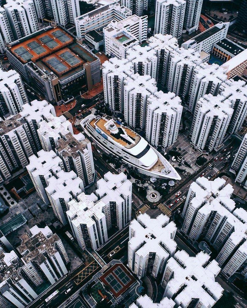 Гонконг дроны, фото с высоты, фотографии с дронов, фотография