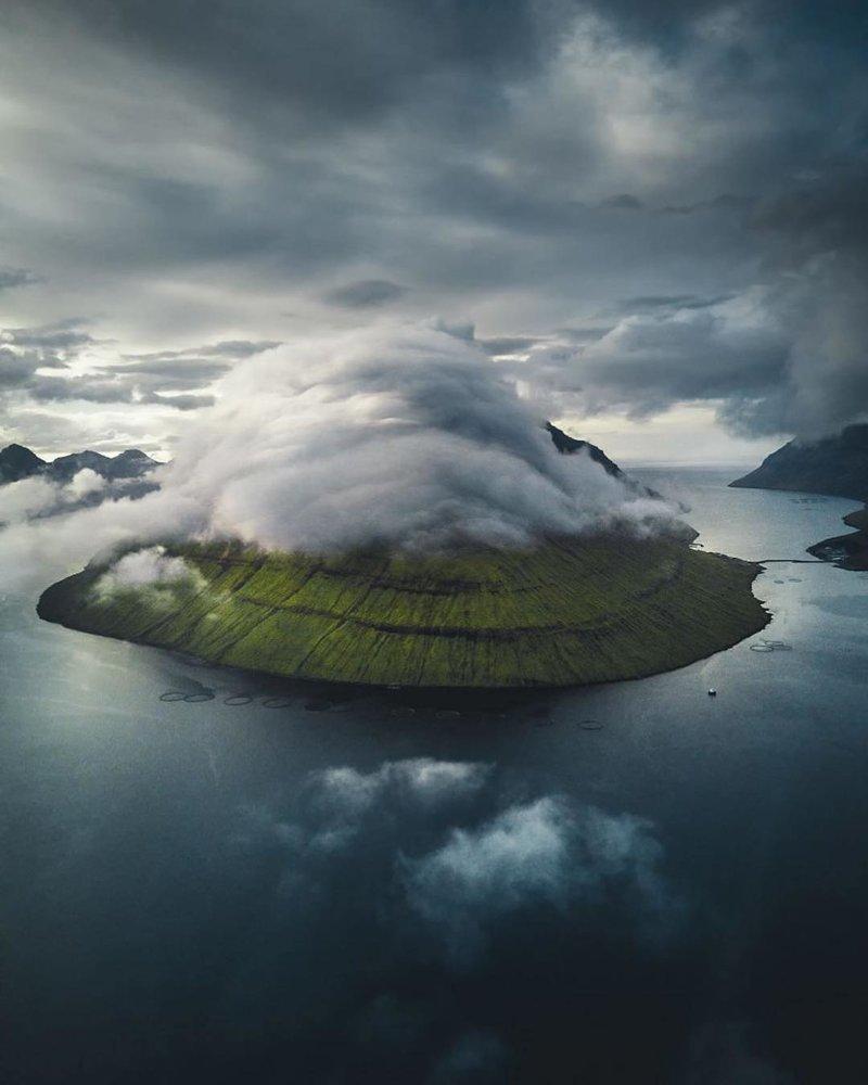 Низкие облака. Фарерские острова дроны, фото с высоты, фотографии с дронов, фотография