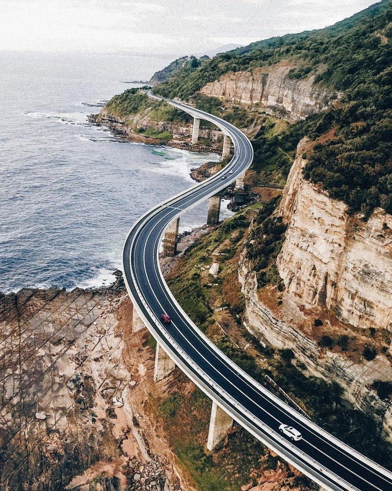 Дорога над океаном. Австралия дроны, фото с высоты, фотографии с дронов, фотография