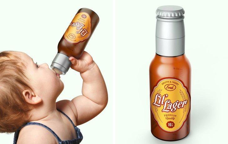 Детская бутылочка для тех родителей, которые хотят шокировать окружающих  в мире, вещи, дизайн, дизайнер, идея, креатив, прикол