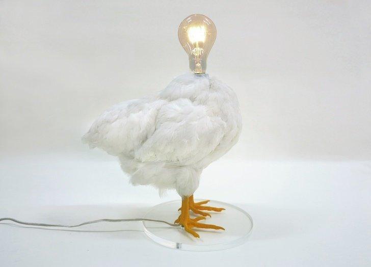 Лампа-курица, которая уж точно не понравится зоозащитникам в мире, вещи, дизайн, дизайнер, идея, креатив, прикол