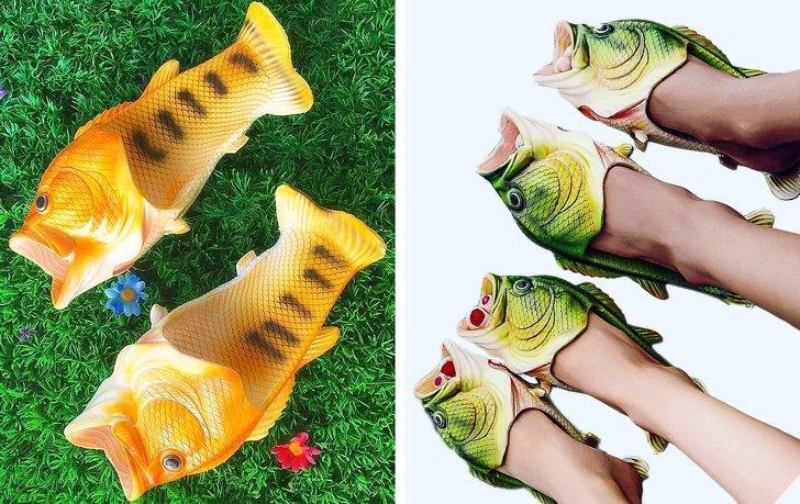 Шлёпанцы в виде рыб в мире, вещи, дизайн, дизайнер, идея, креатив, прикол