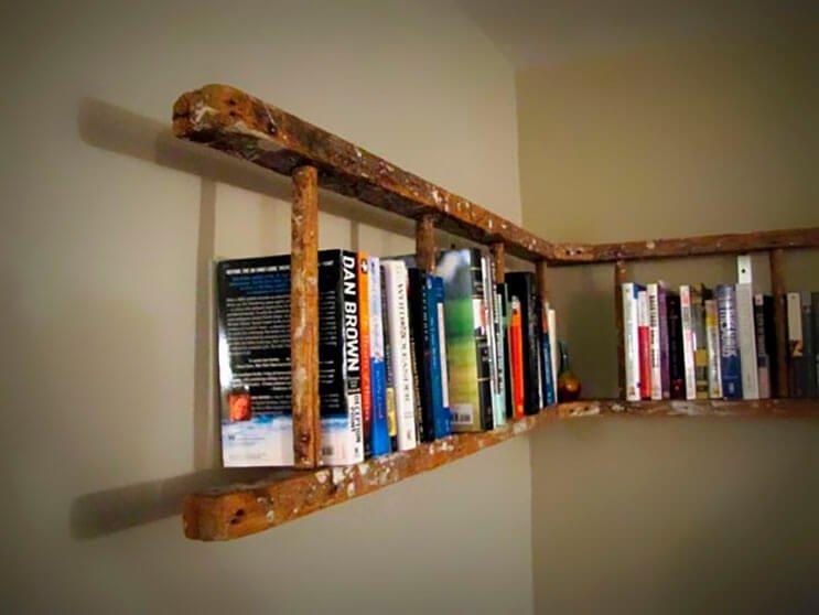 Не выбрасывайте старую лестницу lifehack, идеи для дома, идеи для зала, идеи для спальной комнаты, крутота, полезности, хитрости