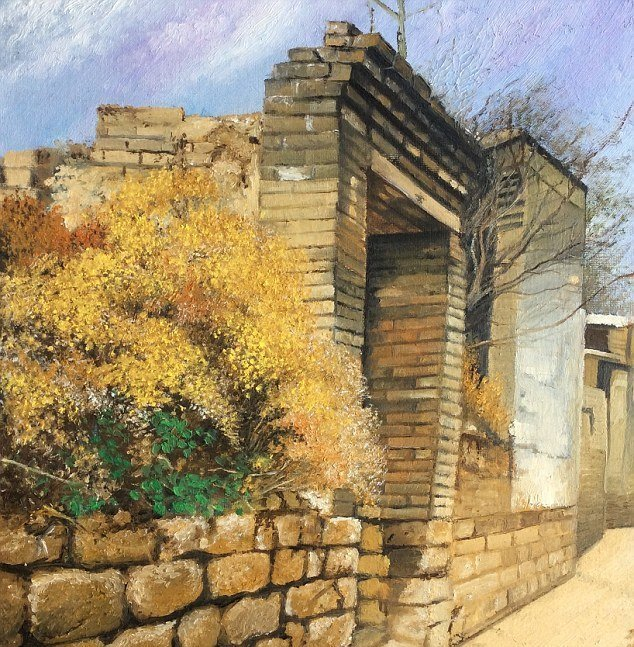 """Одна из самых любимых работ Чжан - """"Парадный вход в мой дом"""". На ней изображен дом, в котором в молодости жил ее отец болезнь, жажда жизни, инвалид, картины, китай, сила духа, художница, художница-инвалид"""