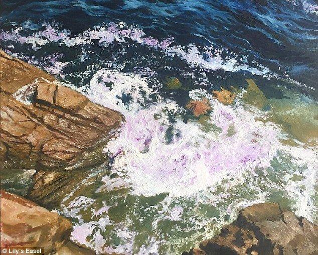 """Картина """"Сердце моря"""" была продана за 2333 юаня (примерно 21,5 тыс. рублей) болезнь, жажда жизни, инвалид, картины, китай, сила духа, художница, художница-инвалид"""