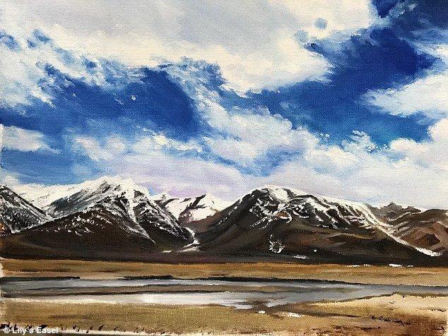 """Картина """"Небеса и облака"""" была продана за 666 юаней (примерно 6 000 рублей) болезнь, жажда жизни, инвалид, картины, китай, сила духа, художница, художница-инвалид"""