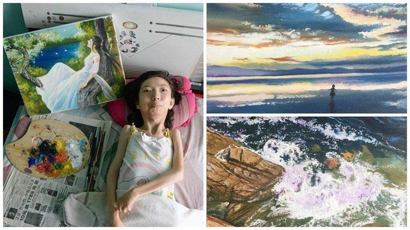 Парализованная китаянка нашла свое призвание в живописи болезнь, жажда жизни, инвалид, картины, китай, сила духа, художница, художница-инвалид