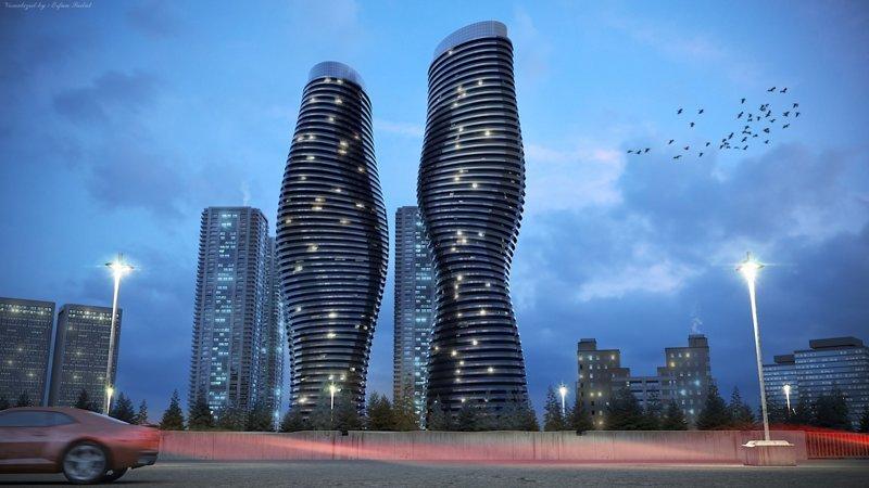 Absolute Towers, Торонто, Канада красота, небоскребы, самый-самый, строительство, удивительное, фантастика