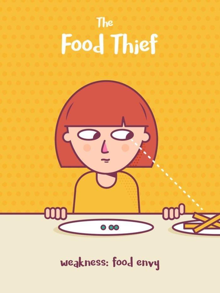 2. Воришка еды. Слабость: зависть еда, иллюстрация, классификация, люди, пища