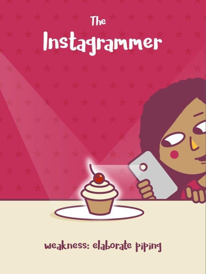 7. Инстаграмер. Слабость: еда — сложный процесс еда, иллюстрация, классификация, люди, пища