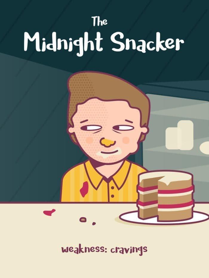 3. Полуночный жевальщик. Слабость: тяга к еде еда, иллюстрация, классификация, люди, пища