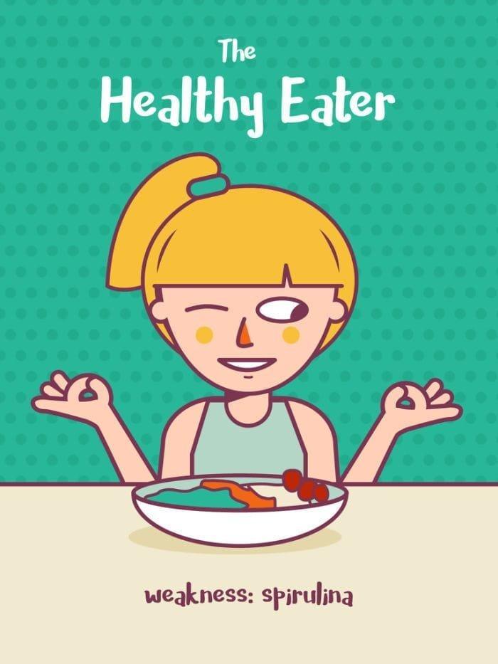 1. Фанат здоровой пищи. Слабость: спирулина еда, иллюстрация, классификация, люди, пища
