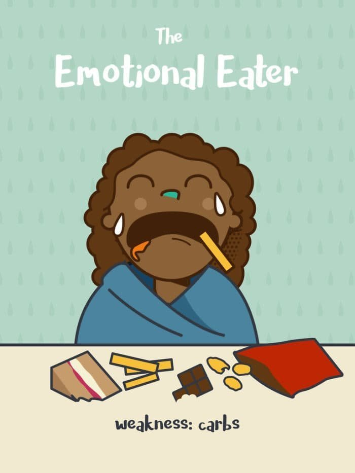 4. Эмоциональный едок. Слабость: углеводы еда, иллюстрация, классификация, люди, пища