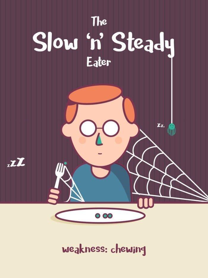 10. Медленный и основательный едок. Слабость: жевание еда, иллюстрация, классификация, люди, пища
