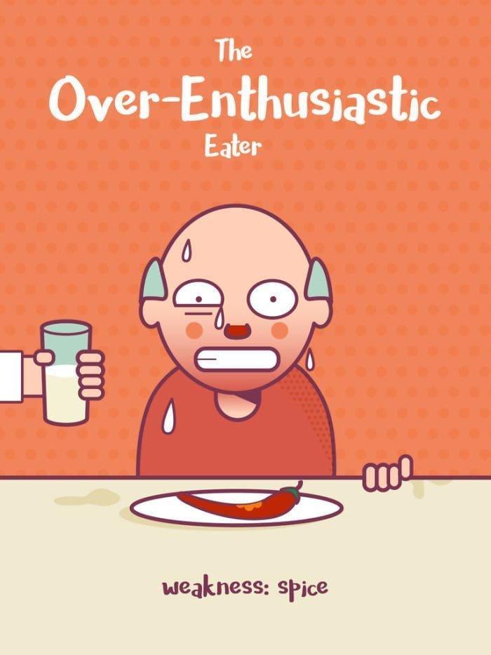 8. Сверхусердный едок. Слабость: специи еда, иллюстрация, классификация, люди, пища