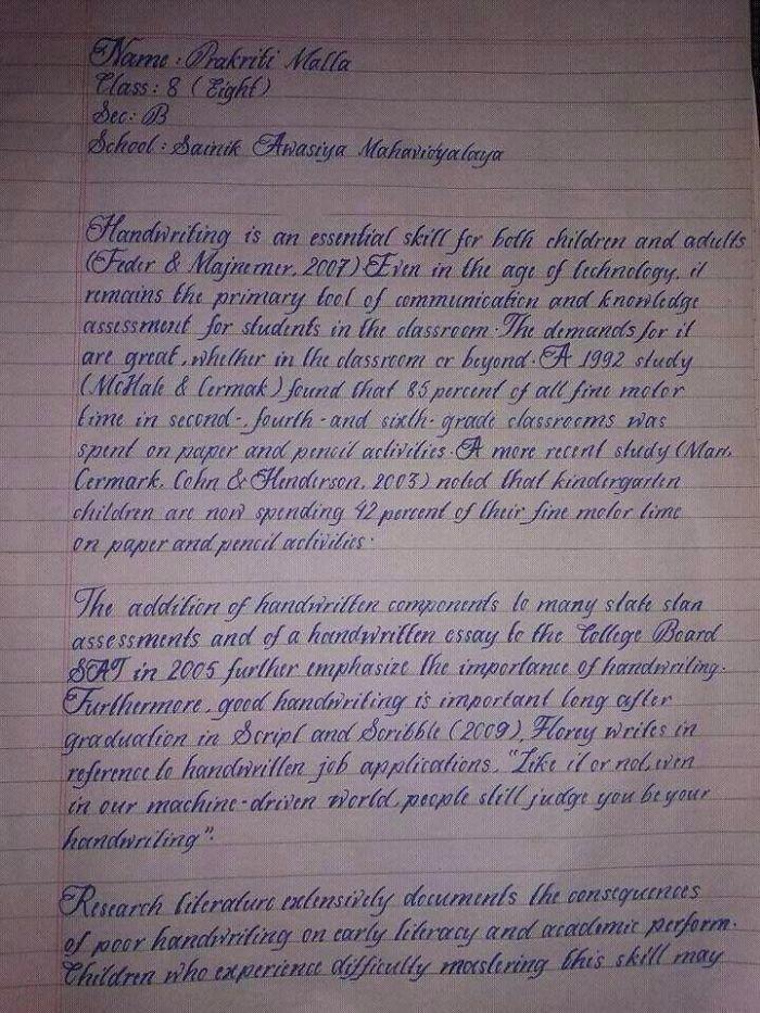 1. Почерк ученика 8-го класса из Непала искусство, каллиграфия, красота, образец, письмо, почерк, пример