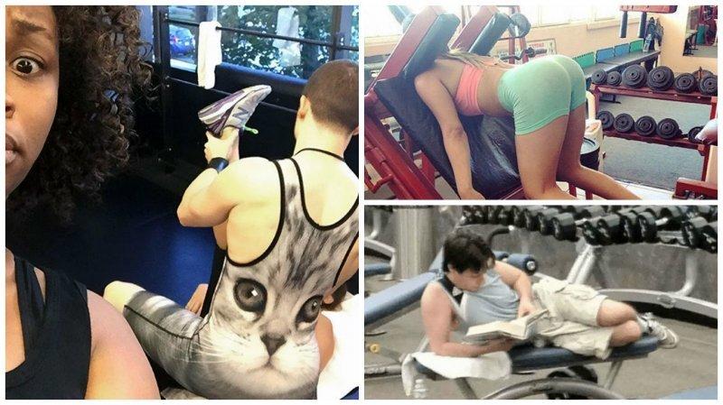 Чего только не увидишь в спортзале Забавные фото, не верь глазам, о спорт, смешные картинки, спортзал, тренировка, фитнес, юмор