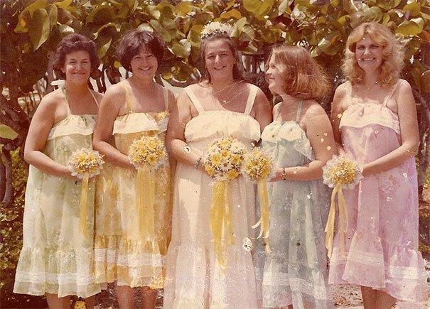 13. Подружка невесты, винтажные фото, мода, наряды, свадебные платья, свадебные снимки, смешное, юмор