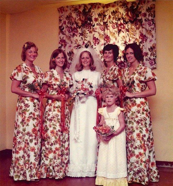 4. Подружка невесты, винтажные фото, мода, наряды, свадебные платья, свадебные снимки, смешное, юмор