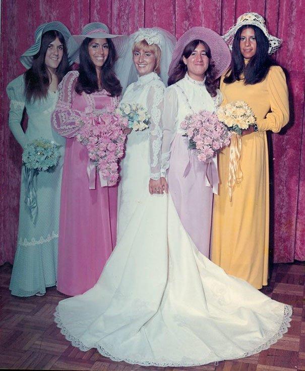 27. Подружка невесты, винтажные фото, мода, наряды, свадебные платья, свадебные снимки, смешное, юмор