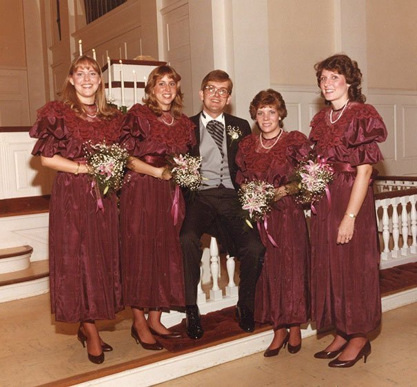 30. Подружка невесты, винтажные фото, мода, наряды, свадебные платья, свадебные снимки, смешное, юмор