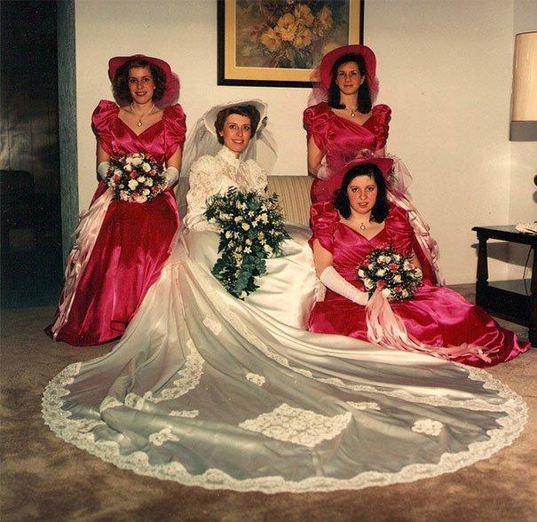 17. Подружка невесты, винтажные фото, мода, наряды, свадебные платья, свадебные снимки, смешное, юмор