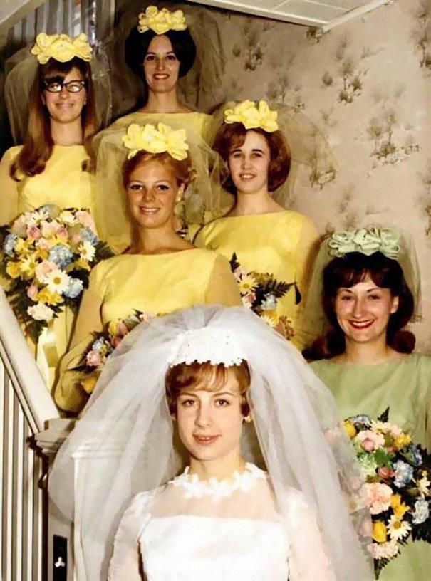 28. Подружка невесты, винтажные фото, мода, наряды, свадебные платья, свадебные снимки, смешное, юмор