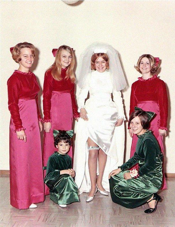 26. Подружка невесты, винтажные фото, мода, наряды, свадебные платья, свадебные снимки, смешное, юмор