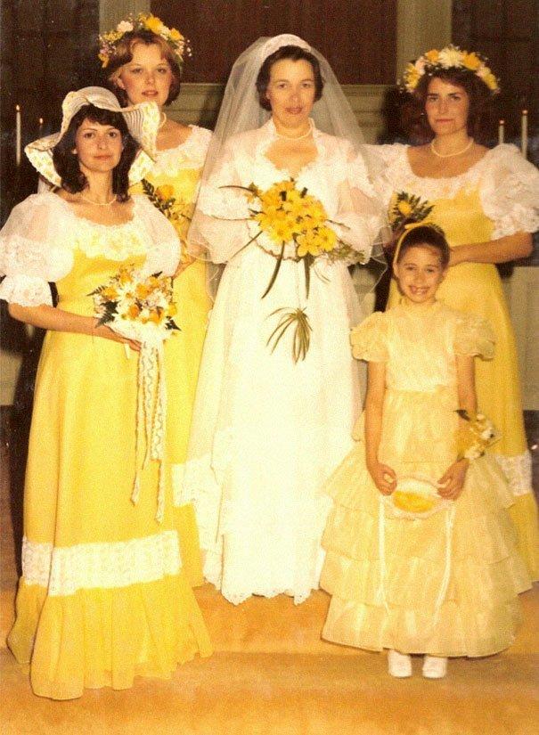 21. Подружка невесты, винтажные фото, мода, наряды, свадебные платья, свадебные снимки, смешное, юмор