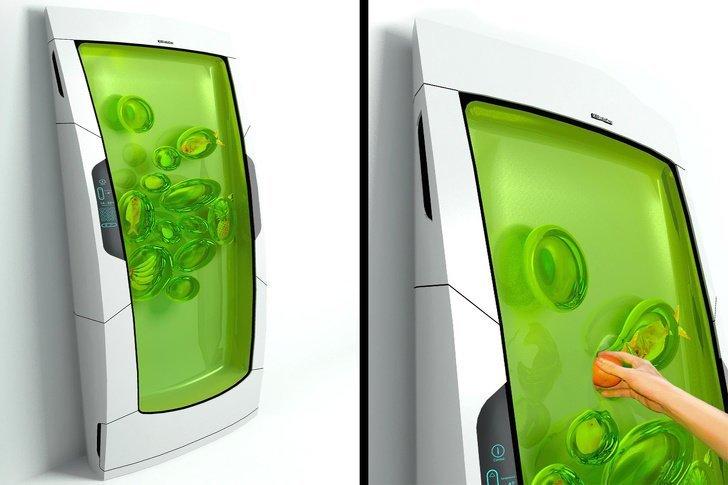 Холодильник, который использует биополимерный гель, чтобы сохранять продукты свежими. Постойте, а что насчет открытых продуктов и овощей-фруктов? Разве они не будут покрыты со всех сторон этим гелем тоже? Скоро узнаем... будущее, в мире, гаджеты, где купить, круто, технология