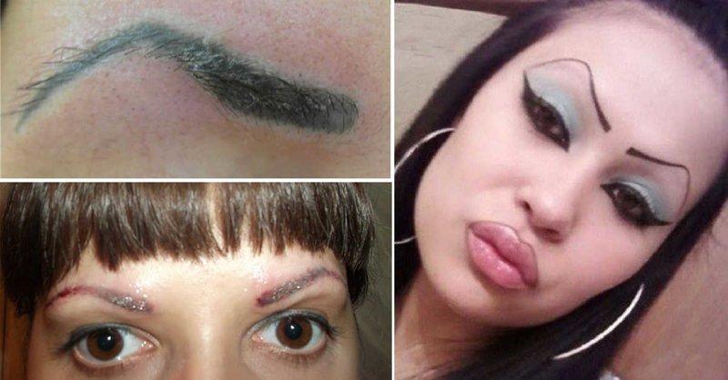Сведите это немедленно: кошмарный татуаж бровей, на который больно смотреть брови, внешность, девушки, красота, татуаж