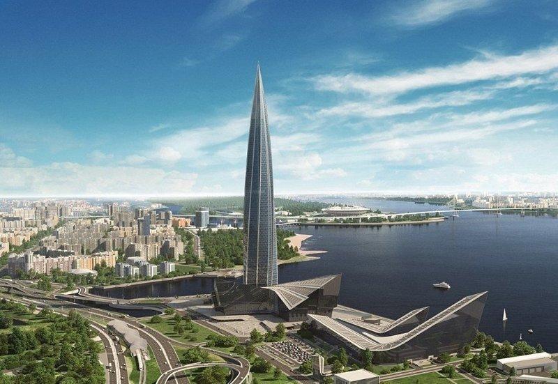 """Силуэт башни символизирует пламя - логотип """"Газпрома"""" ЛахтаЦентр, газпром, небоскреб, россия, санкт-петербург, строитель, фото"""