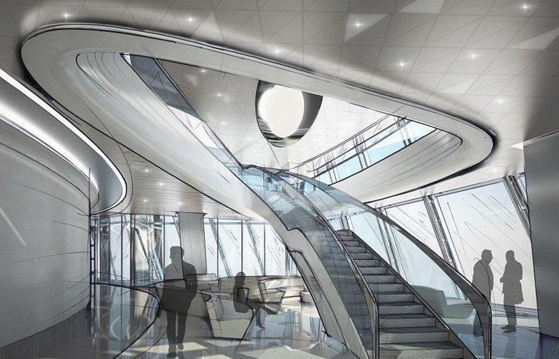 Дизайн интерьера выполнен в футуристическом стиле ЛахтаЦентр, газпром, небоскреб, россия, санкт-петербург, строитель, фото