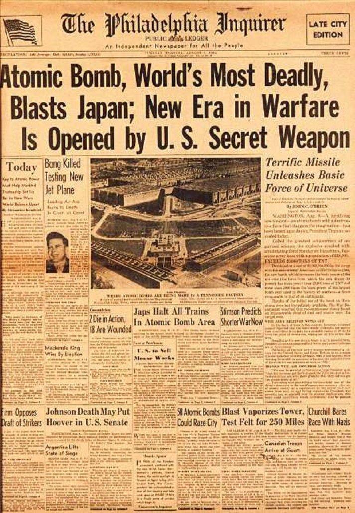 Бомба, потрясшая мир. Что СМИ писали о бомбардировке Хиросимы атомная бомба, день в истории, сми, хиросима