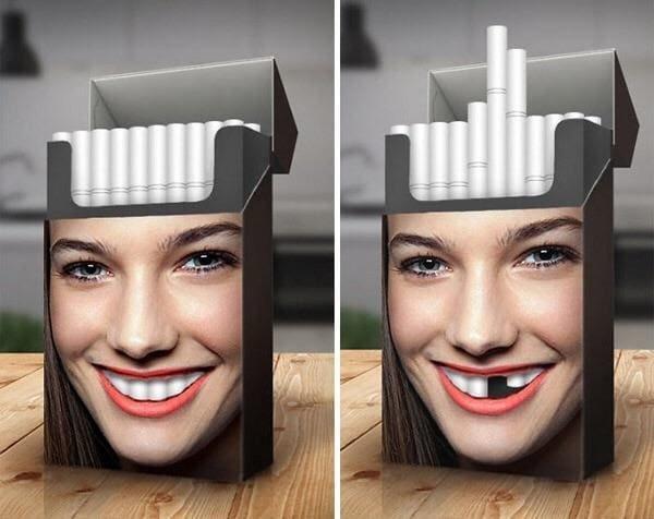3. Предупреждение на пачке сигарет восхищение, гениально, дизайнер, идея, креатив, проект, фантазия