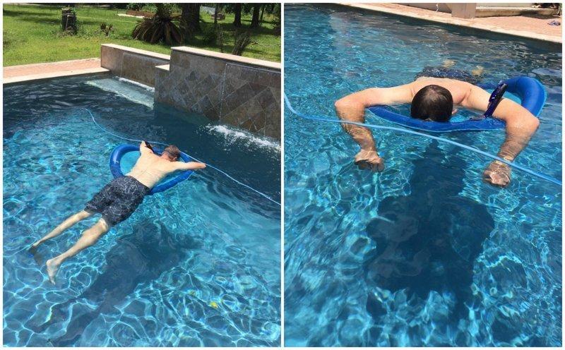 """1. """"Мой папа купил себе трубку для подводного плавания с единственной целью - наконец вздремнуть в бассейне"""" Отец года, гениально, забавно, отцы, папа может, папы, подборка, фото"""