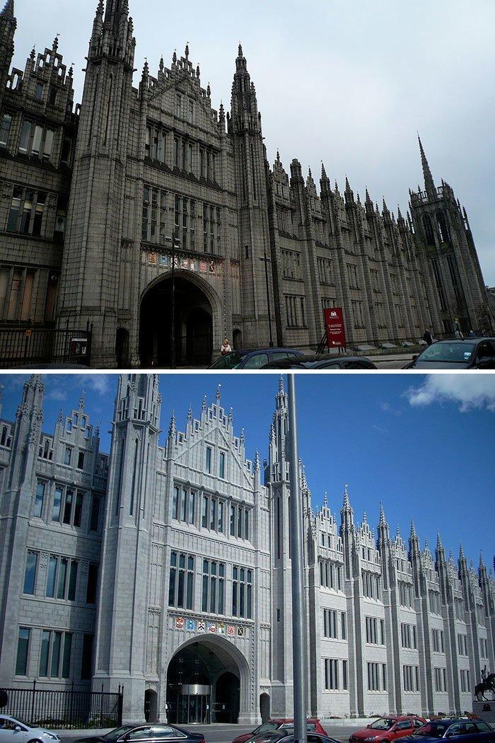 Знаменитый колледж Маришаль Абердине, второе по размеру в мире здание из гранита, наконец-то почистили все сверкает, до и после, мойка, на уборку становись, результаты уборки, уборка, чистка, чистота залог здоровья