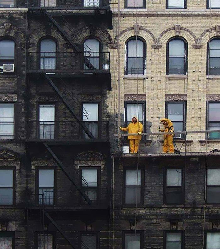 Нью-Йорк во времена угольного отопления был очень грязным городом все сверкает, до и после, мойка, на уборку становись, результаты уборки, уборка, чистка, чистота залог здоровья