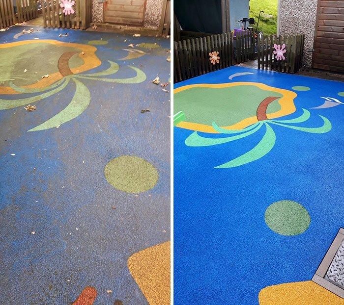 Детская площадка до и после уборки все сверкает, до и после, мойка, на уборку становись, результаты уборки, уборка, чистка, чистота залог здоровья