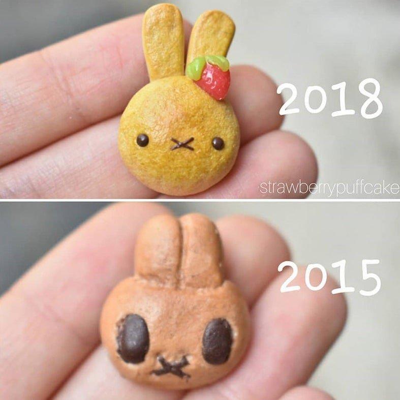 Мастер лепки из глины показала, как опыт меняет её работы, и на этот прогресс приятно смотреть глина, результат, ремейк, своими руками, тогда и сейчас